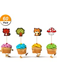 Mtlee 60 Pieces Woodland Animals Cupcake Toppers Cute Party Dessert Muffin Cake Toppers for Picnic Wedding Baby Shower Birthday