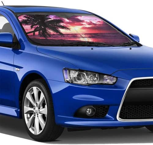Britimes Car Sun Shade for Windshield 51x28 inches Watercolor Abstract Flowers Africa Animal Protector for All Vehicles and Keep Your Vehicle Cool