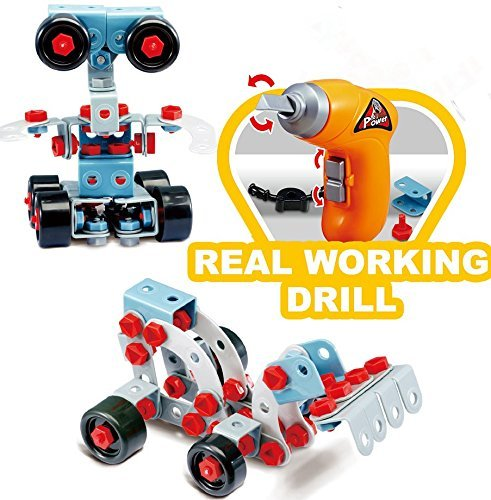 552 Pieces STEM Learning Take apart Educational Construction Toy w ELECTRIC Toy DRILL Building Blocks Set TG669 For 6 7 8 Year Old Boys & Girls. Best Toy Gift for Kids Age 6+