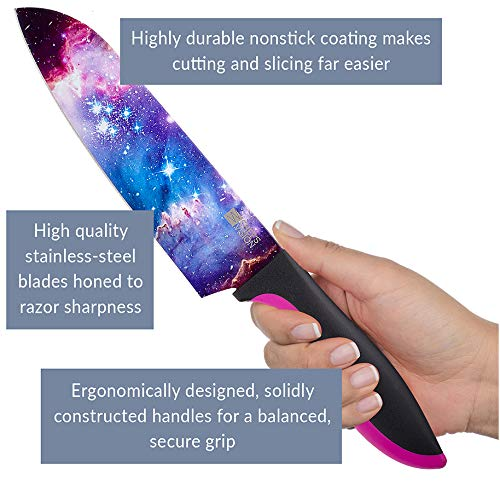 Cosmos Kitchen Knife Set in Gift Box – Color Chef Knives – Cooking Gifts for Husbands and Wives, Unique Wedding Gifts…
