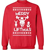 Pekatees Merry Liftmas Sweatshirt Funny Santa Lifting Sweater Ugly Christmas Sweaters for Fitness and Workout Fans Red S
