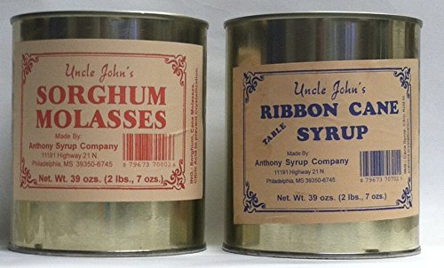 Uncle Johns Ribbon Cane Table Syrup and Sorghum Molasses Sampler in Metal Cans 30 Fl OZS 2 Lb 7 OZS by Uncle John''s (Image #3)