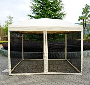 outsunny easy pop up canopy tent with mesh side walls 10 feet x 10 feet tan pop. Black Bedroom Furniture Sets. Home Design Ideas