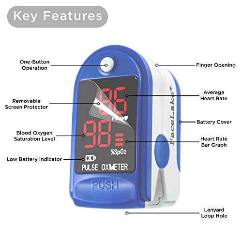 FaceLake FL400 Pulse Oximeter with Carrying Case, Batteries, Neck/Wrist Cord