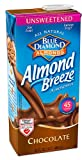 Blue Diamond Natural Almond Breeze Smooth & Creamy Unsweetened Chocolate -- 32 fl oz Each / Pack of 4