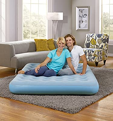Simmons Beautyrest Smartaire Express Inflatable Air Mattress: Low-Profile Air Bed with External Pump, Queen