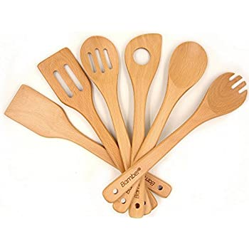 Bamber Wooden 6 Piece Cooking Utensils, Wood Tool And Gadget Set, Wooden  Cooking Spoons