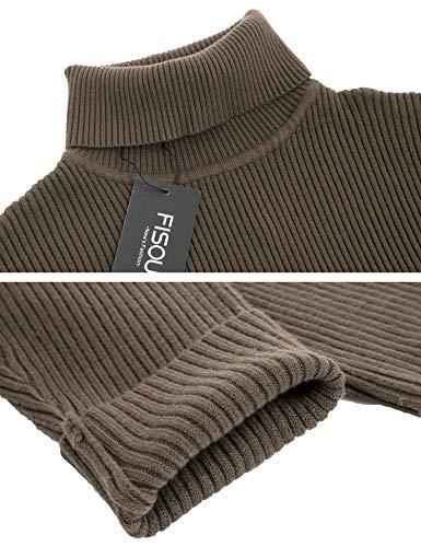 Sweater Fisoul Casual Uni Pulls Manches Col Café Homme Slim Fit Longues Chandails Roulé Coton gCxH60ZqwC