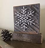 Sweet & Small freestanding wooden snowflake ''frosty'' string art decor sign. Perfect for holiday home accents, ski cabins and and snowflake gifts for winter enthusiasts by Nail it Art.