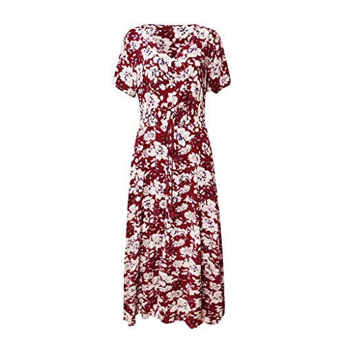 Women Short Sleeve V Neck Button Up Dresses Floral Printed High Slit Lace Up Empire Waist Pleated Dress (Red, 2XL) by Yicolo (Image #4)