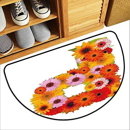 DILITECK Modern Door mat Letter P Flower Arrangement with Gerbera Daisies Colorful Palette Alphabet P Symbol Print Country Home Decor W30 xL18 Multicolor ()