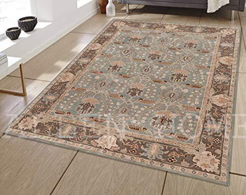 (Allen Home Wool Rug 8'X10' Allie Porcelain Blue Tufted William Morris Art and Crafts Persian Traditional Woolen Area Rug Carpet)