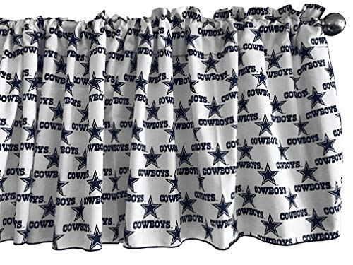 Zen Creative Designs 100% Cotton NFL Sports Team Dallas Cowboys White Multi-Print Window Valance Panel / Kids Nursery Window Treatment Decor (14