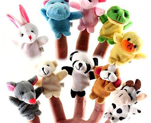 Elsatsang FingerPuppen, 10 pcs unterschiedlich Karikatur Tier FingerPuppen, weich Samt Puppen Requisiten Spielzeug, Finger Spielzeug Set, Weihnachten Geschenk für Kids babyGreen