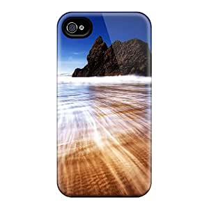 Tpu Fashionable Design Retreating Wave Desktop Picture Rugged Case Cover For Iphone 4/4s New