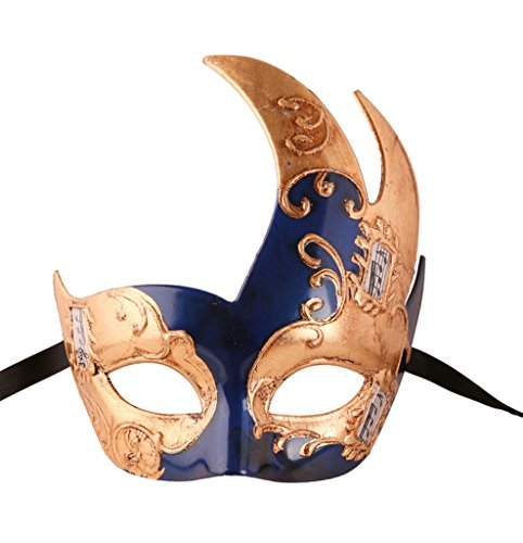 Luxury Mask Men's Vintage Design Masquerade Mask - Blue/Gold Musical ()