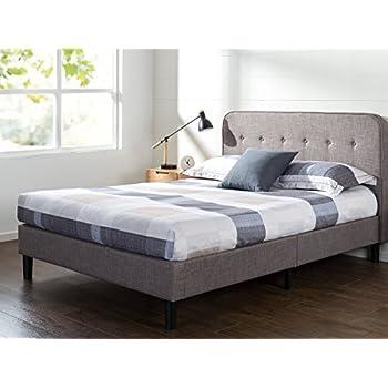 Merveilleux Zinus Upholstered Curved Platform Bed With Wooden Slat Support, Full