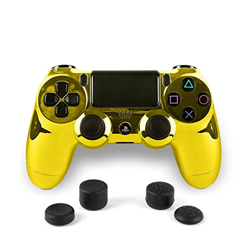 Gold Bag PS4 Dualshock Full Controller with 4 Custom Thumbstick Covers - Gold