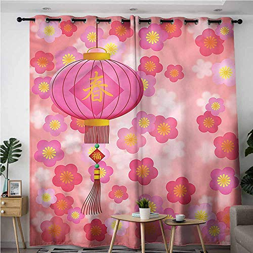 (XXANS Grommet Window Curtains,Lantern,Cherry Blossom New Year,Grommet Curtains for Bedroom,W96x72L)