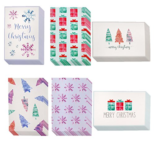 Winter Holiday Greeting Cards - 48 Pack Assorted Christmas Greeting Cards - 6 Designs, Christmas Trees, Snowflakes, Gift Boxes, Merry Christmas 4 x 6 Inches - Envelopes Included by Juvale