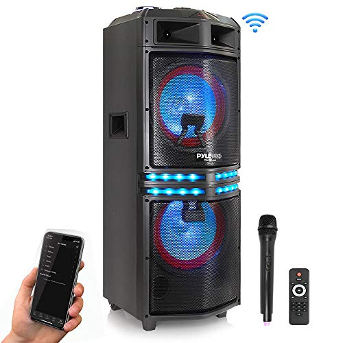 - Wireless Portable PA Speaker System - 500 W Battery Powered Rechargeable Sound Speaker and Microphone Set with Bluetooth MP3 USB Micro SD FM Radio AUX RCA DJ Lights - for PA / Party - Pyle PADH122MPA