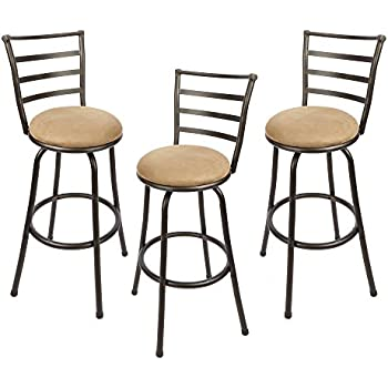 Adjustable Height Swivel Barstool, Hammered Bronze Finish, Set Of 3,