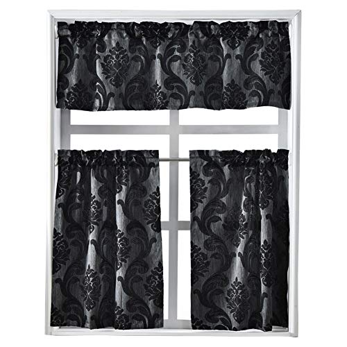 NAPEARL Set of 3 Pieces Rod Pocket Kitchen Curtains Valance and Tiers (Black)