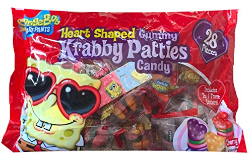 Spongebob Squarepants Heart Shaped Gummy Krabby Patties Candy Inlcudes To / From Stickers