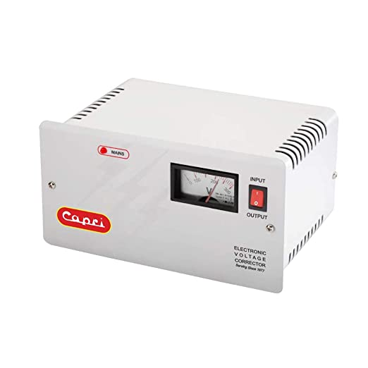 Capri Electronic Voltage Stabilizer/Corrector, White, Metal Cabinet Voltage Stabilizers
