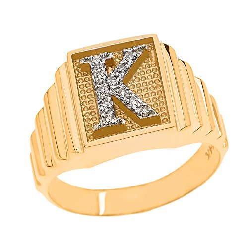 Men's 10k Yellow Gold Layered Band Square Face Diamond Initial Letter K Ring (Size 7.75)