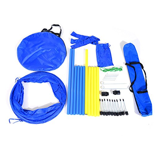Polyester 190t - Globe House Products GHP Blue & Yellow 190T Polyester Cloth Tunnel Poles Cross Bar Pet Agility Training Set