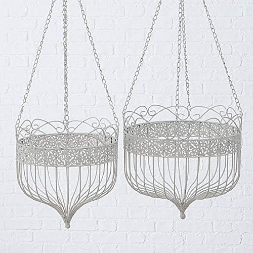 CasaJame Pflanzkorb für Hängetopf 2er Set Sortiert aus Eisen weiß D32-38cm Hanging Basket