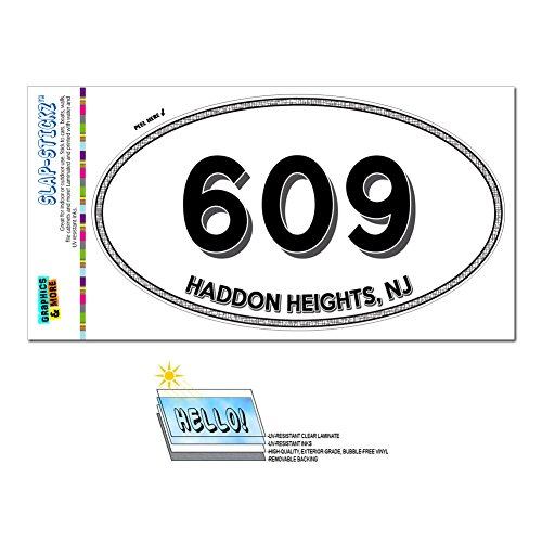 Graphics and More Area Code Oval Window Sticker 609 New Jersey NJ Absecon - Medford Lakes - Haddon Heights