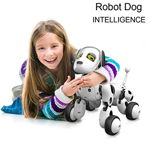 New Mannequin Distant Management Robotic Canine, MOONHOUSE RC Good Canine Sing Dance Strolling Digital Pet Children Toy -Play with Your Children. (White)  Evaluations
