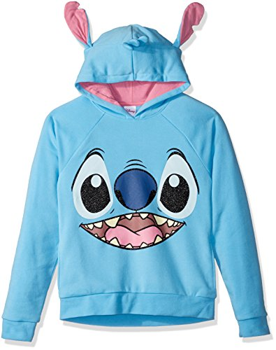 Disney Big Girls' Stitch Costume Hoodie, Blue, L10/12]()