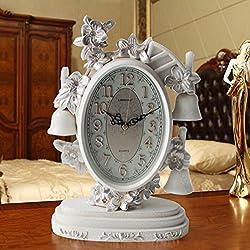 LINZEWANG Clock Mute Living Room Table Clock Bedside Table Small Clock Retro Bell Decoration Creative Ornaments Clock Trumpet Ts921Fy (Ceramic Crack White)