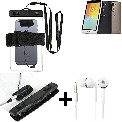 Estuche estanco al agua con entrada de auriculares para LG Electronics L Bello + auricular incluido, transparente | Trotar bolsa de playa al aire libre caja brazalete del teléfono caso de cáscara bajo