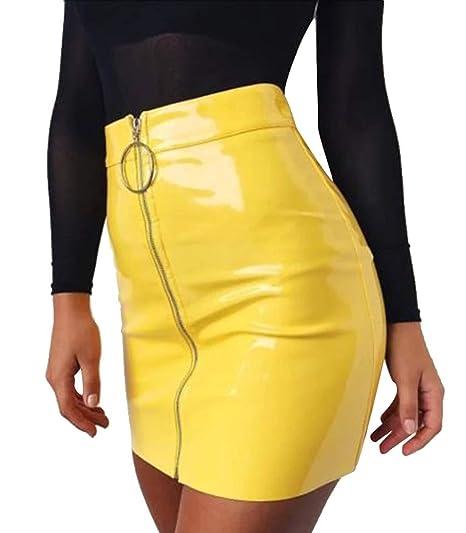 A. M. Sport Minifalda Corta para Mujer de Piel. Falda Sexy de ...