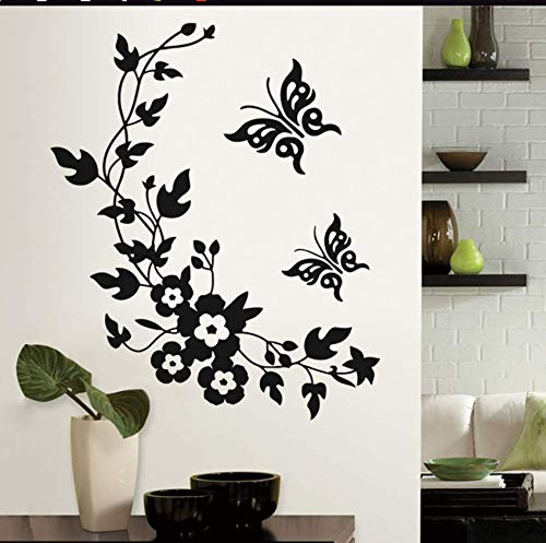 yynight Butterfly Flower Vine Decorative Wall Stickers Home Decoration for Toilet Refrigerator Decor Kitchen Bathroom Mural Vinyl Decals