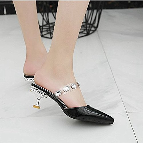 Toe Ladies Sandals Dressy JULY Fashion Womens Pointed Slide Toe Slip On Sandals Drill T Mid Heel Black Closed qaYEfgc