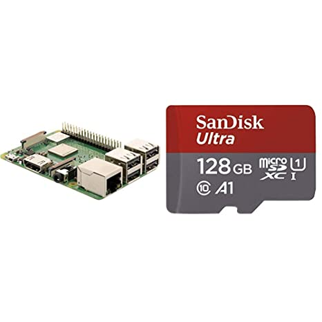 Raspberry Pi 3 Modelo B+ + SanDisk Ultra - Tarjeta de Memoria microSDXC de 128 GB con Adaptador SD, Velocidad de Lectura hasta 100 MB/s, Clase 10, U1 ...