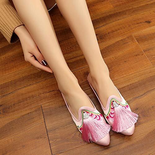 Bordada Zapatos De Bozevon Viejos Rosa Puntiagudo Zapatillas Planos Pekín Borla Novia SnOpwO