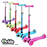iRIDE Kick Scooter for Kids 3 Wheel Scooter, Adjustable Height, Lean to Steer, LED Light Up Wheels for Children Boys Girls from 4 to 12 Years Old (Pink)