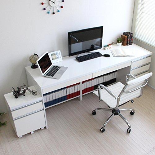 パソコンデスク 高級ホワイト鏡面 145cm幅 ハイタイプ 鏡面パソコンデスク 2段チェスト 3段チェスト 3点セット UV鏡面塗装 傷に強い SAV033N J-Supply B07DD536K4