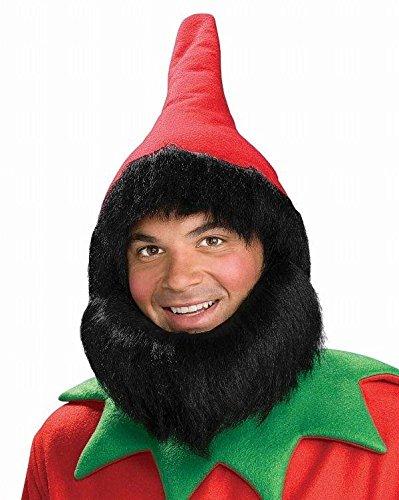 Forum Novelties Men's Elf Hat with Beard, Red, One Size