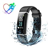Fitness Tracker with Heart Rate Monitor MPOW IP68 Waterproof Smart Watch Color Screen smart Bracelet with Sleep Monitor Weather Forecast, 14 Exercise Modes, Pedometer, Activity Tracker for for iPhone Samsung & Other Android or iOS Smartphones for Adults Kids( Black)