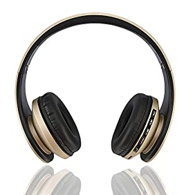 Fetta Wireless Foldable Over Ear Bluetooth Headphones with Mic Headsets with 3.5 MM Audio Cable for Running Sports Stereo Earphones for Bluetooth Enabled Devices (Gold)