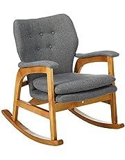 Christopher Knight Home 301988 Bethany Mid Century Fabric Rocking Chair (Grey), Light Walnut