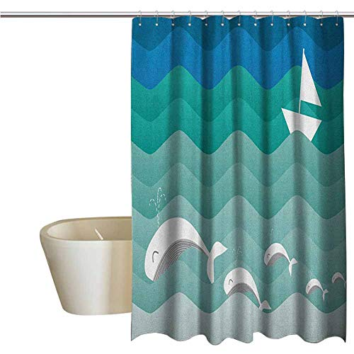 Nautical Elegant Shower Curtains Nautical Theme with Paper Boat Sea Happy Dolphins Underwater Sea Animals Waterproof Fabric Shower Curtain W48 x L72 Inch Blue Sea Green White (Mlb Toilet Paper)