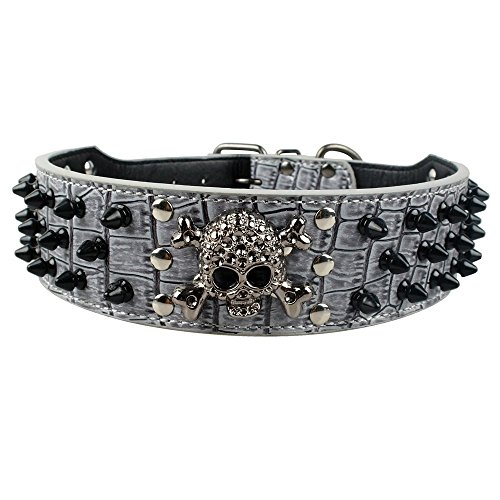 Dogs Kingdom Skull Punk Style Spiked Studded Pu Leather Dog Collars Pitbull Boxer Mastiff Pet Collar Grey L (Pit Boxer)